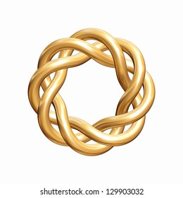 Golden knot with eight bends isolated on white. Can be used as a logo