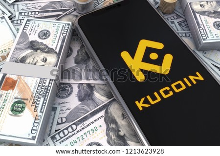 Golden Kucoin Logo And Dollars On Smart Phone. 3D Illustration of Gold Kucoin And One Hundred Dollars Banknotes Background. 3D rendering.