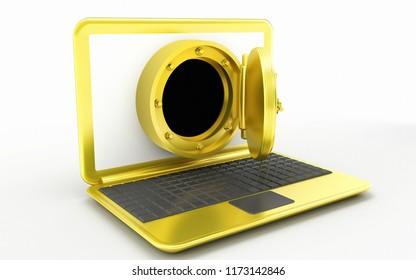 golden laptop, online banking or safety concept 3d illustration