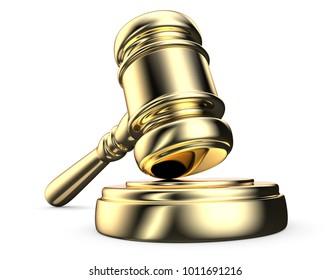 Golden Law Hammer. Law of the instrument, Gavel Hammer on sound Block. Golden. 3D render.