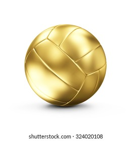Golden Leather Volley Ball isolated on white background. Concept of Success. Sport and Recreation Concept.