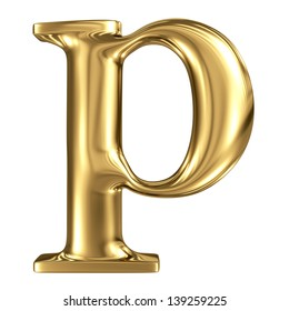 Golden letter p lowercase high quality 3d render isolated on white