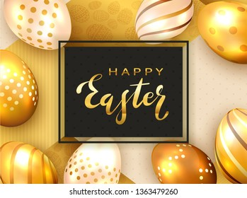 Golden lettering Happy Easter on black card with Easter eggs and luxury elements on holiday gold background, illustration.