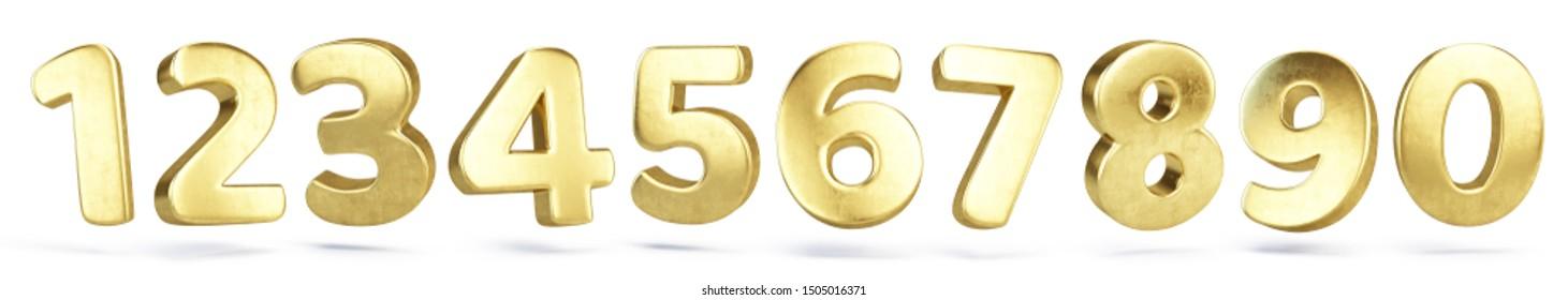 Goldene Buchstaben einzeln auf Weiß - 3D-Darstellung
