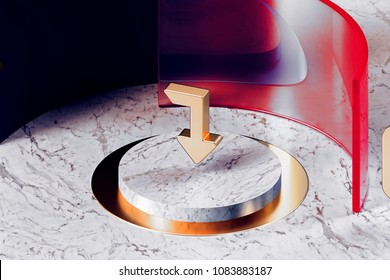 Golden Level Down Icon With White Marble and Red Glass. 3D Illustration of Fashion Golden Arrow, Down, Download, Level Down, Levels, Priority, Put Icon Set in the Red Installation.