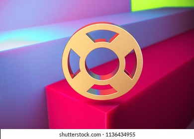Golden Life Ring Icon on the Violet and Grass Green Geometric Background. 3D Illustration of Gold Floatation Device, Guardar, Life Buoy, Life Ring, Life Save Icon Set With Installation of Color Boxes.
