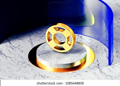 Golden Life Ring Symbol on the White Marble and Blue Glass Around. 3D Illustration of Golden Floatation Device, Guardar, Life Buoy, Life Ring, Life Save Icon Set With Blue Glass.