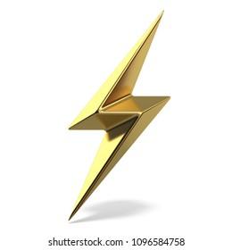 Golden lightning double symbol two sides sharp 3D rendering illustration isolated on white background