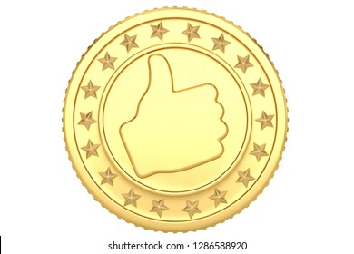 Golden like coin isolated on white background 3D illustration.