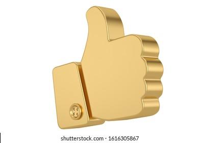 Golden like gesture  Isolated on white background. 3d illustration.