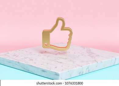 Golden Like Icon on the Candy Background . 3D Illustration of Golden Good, Hand, Like, Ok, Thumb, Thumbs, Thumbs Up Icons on Pink and Blue Color With White Marble.