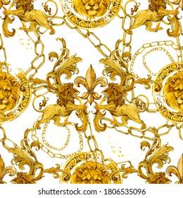 golden lion baroque seamless pattern. Watercolor vintage gold lace ornament. luxury textile print