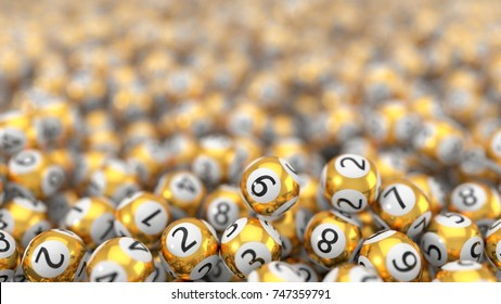 golden lottery balls stack background. 3d illustration