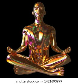 Golden lotus pose stylized man figure polished colorful reflections. Human mental guru zen character statue gold. Peaceful nirvana meditate calm symbol. 3d rendering, isolated on black