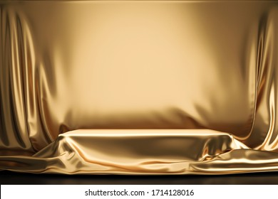 Golden luxurious fabric or cloth placed on top pedestal or blank podium shelf on gold background with luxury concept. Museum or gallery backdrops for product. 3D rendering.