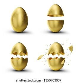 Golden, luxury easter set eggs. Set golden eggs cracked, broken into many pieces isolated on a white background. Golden easter eggs holiday symbol. 3D illustration