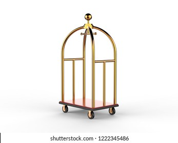 Golden Luxury Hotel Luggage Trolley Cart mock up template isolated on white background, 3d illustration