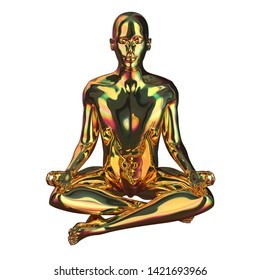 Golden man stylized figure lotus pose sparkling glossy. Human mental guru character polished gold statue. Peaceful nirvana balance meditate symbol. 3d rendering, isolated