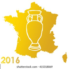 golden map of france nation with external outline isolated on white background and logo of the cup of european soccer championship
