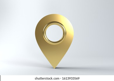 Golden Map Pointer isolated on white background. 3D rendering