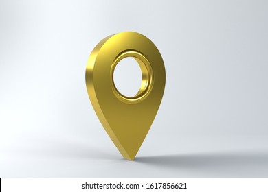 Golden Map Pointer isolated on white background. 3d render Icon