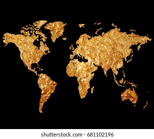Golden Map of the World on a black background. Map of the planet in gilding. Continents gold leaf.