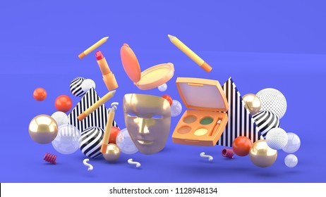 Golden masks and floating cosmetics among colorful balls on a purple background.-3d rendering.