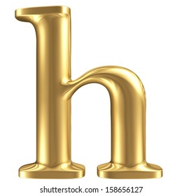 Golden matte lowercase letter h, jewellery font collection