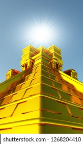 Golden Maya Temple in 3D with light