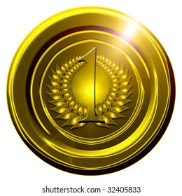 golden medal on a solid white background