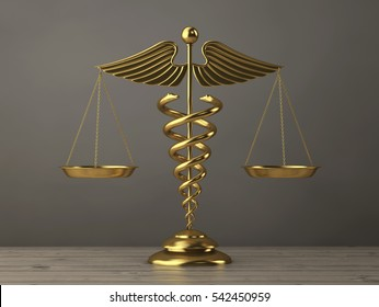 Golden Medical Caduceus Symbol as Scales on a wooden table. 3d Rendering