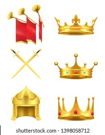 Golden medieval symbols 3d icons set. gold crowns with gems knight helmet crossed shiny swords and trumpets flags realistic raster isolated on white background