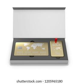 Golden member card with golden bar in the box, 3d Illustration