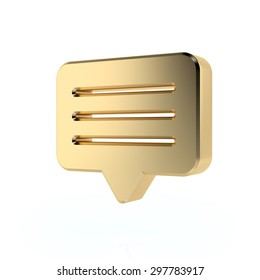 Golden message sign. 3d render. Isolated on white background, social media concept.