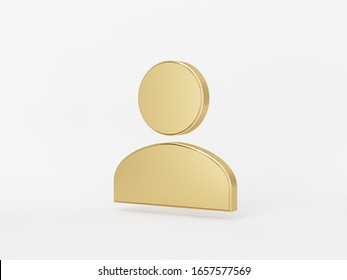 Golden metal 3d icon object isolated in white background. 3d rendering - illustration.