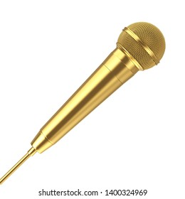 Golden Metal Modern Microphone on a white background 3d Rendering