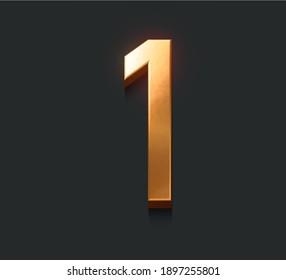 Golden metallic alphabet, Number one, 3d illustration, dark background