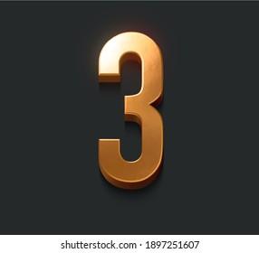 Golden metallic alphabet, Number three, 3d illustration, dark background