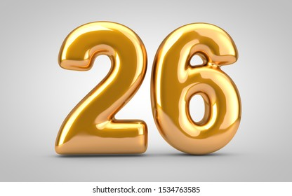 Golden metallic balloon number 26 isolated on white background. 3D rendered illustration. Best for anniversary, birthday, new year celebration.