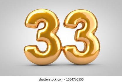 Golden metallic balloon number 33 isolated on white background. 3D rendered illustration. Best for anniversary, birthday, new year celebration.