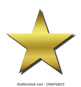 Golden metallic star with shadow