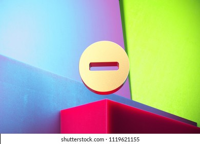 Golden Minus Circle Icon on the Green and Violet Geometric Background. 3D Illustration of Gold Cancel, Circle, Close, Delete, Exit, Minus, Remove Icon Set With Installation of Color Boxes.
