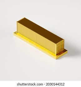 golden model of a twenty-foot sea container, cup or award, poster or banner, 3d rendering