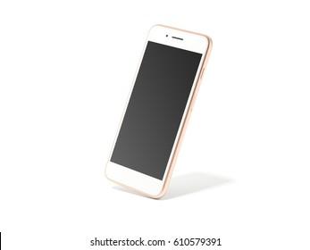 Golden modern smartphone with black screen in white studio. 3d rendering