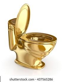 Golden modern toilet with the lid open. 3d illustration. Isolated on white