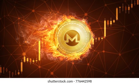 Golden monero coin in fire with bull trading stock chart. Monero blockchain token grows in price on stock market concept. Cryptocurrency coin on polygon peer to peer network background.