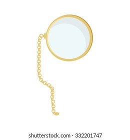 Golden monocle with chain raster isolated, hipster style, retro