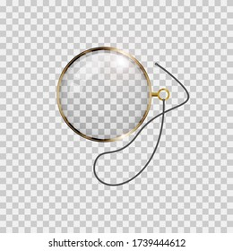 Golden monocle with lace isolated on checkered background. Realistic illustration.