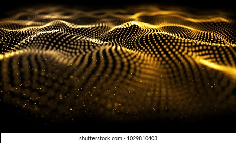 Golden motion tech digitals background. Golden wave glowing backdrop. Yellow light graphic art pattern on the black background. The effect movement of the curve designed for power technology