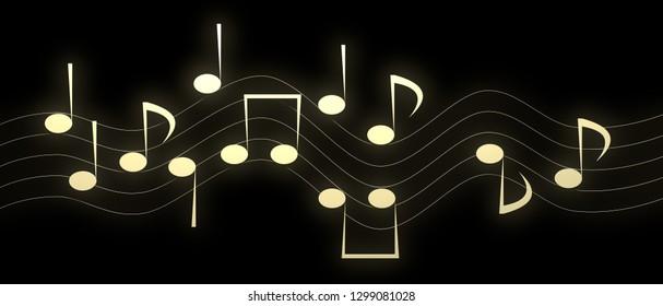 Golden Music Notes (3d Illustration)